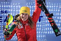 20th February 2021; Cortina d'Ampezzo, Italy; FIS Alpine World Ski Championships, Women's Slalom ;   Katharina Liensberger (AUT) celebrates her win on the podium