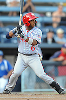 Hagerstown Suns designated hitter Khayyan Norfork #6 swings at a pitch during a game against the Asheville Tourists at McCormick Field on May 28, 2013 in Asheville, North Carolina. The Tourists won the game 9-4. (Tony Farlow/Four Seam Images)