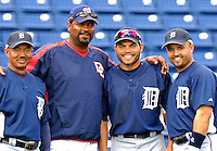 15 March 2007: Detroit Tigers catcher Ivan Rodriguez and friends pose for a photo hits prior to a spring training game against the Washington Nationals at Space Coast Stadium in Viera, Florida. Left to right: Tigers infield coach Rafael Belliard, Washington Nationals coach, Ivan Rodriguez, and Tigers second baseman Placido Polanco...Mandatory Photo Credit: Ed Wolfstein Photo