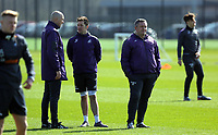 Pictured L-R: Coach Cameron Toshack, goalkeeping coach Andrew Sparkes and coach Gary Richards Friday 24 March 2017<br /> Re: Swansea City U23 training ahead of their International Cup game against Porto, Fairwood training ground, UK
