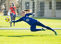 ORLANDO, FL - JANUARY 20: Aubrey Bledsoe #21 of the USWNT makes a save during a training session at the practice fields on January 20, 2021 in Orlando, Florida.