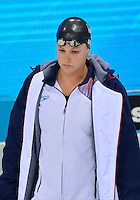 July 28, 2012: Caitlin Leverenz arrives on deck to compete in Women's 400 meter individual medley at the Aquatics Center on day one of 2012 Olympic Games in London, United Kingdom.