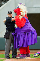 Winston-Salem Dash mascot Bolt dances with home plate umpire Lawrence Reeves between innings of the Carolina League game between the Salem Red Sox and the Winston-Salem Dash at BB&T Ballpark on May 5, 2012 in Winston-Salem, North Carolina.  (Brian Westerholt/Four Seam Images)