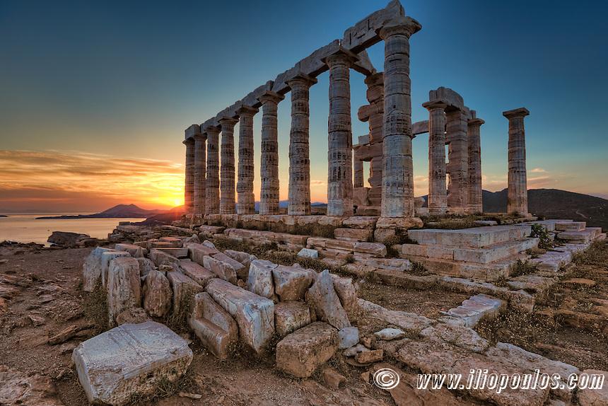 The temple of Poseidon (448–440 B.C.) in Sounio, Greece