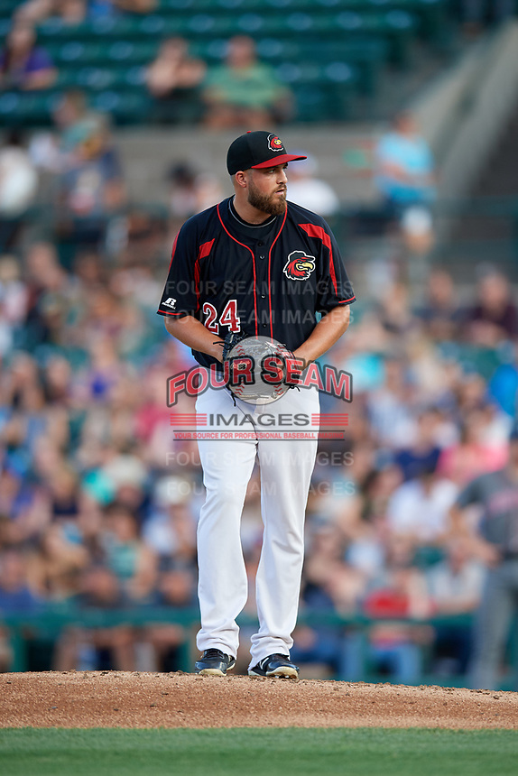 Rochester Red Wings relief pitcher D.J. Baxendale (24) gets ready to deliver a pitch during a game against the Lehigh Valley IronPigs on September 1, 2018 at Frontier Field in Rochester, New York.  Lehigh Valley defeated Rochester 2-1.  (Mike Janes/Four Seam Images)