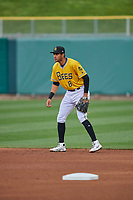 Jake Gatewood (8) of the Salt Lake Bees on defense against the Tacoma Rainiers at Smith's Ballpark on May 16, 2021 in Salt Lake City, Utah. The Bees defeated the Rainiers 8-7. (Stephen Smith/Four Seam Images)