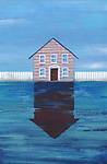 Illustrative image of house with reflection representing price fall in real estate