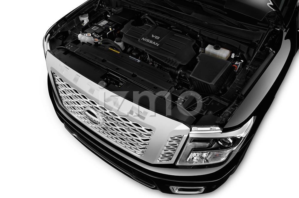 Car Stock 2018 Nissan Titan Platinum-Reserve-Crew 4 Door Pickup Engine  high angle detail view