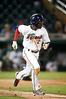 Fort Myers Miracle shortstop Nick Gordon (2) runs to first during a game against the Brevard County Manatees on April 13, 2016 at Hammond Stadium in Fort Myers, Florida.  Fort Myers defeated Brevard County 3-0.  (Mike Janes/Four Seam Images)