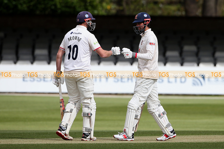 Nick Browne (L) and Sir Alastair Cook of Essex during Essex CCC vs Worcestershire CCC, LV Insurance County Championship Group 1 Cricket at The Cloudfm County Ground on 8th April 2021