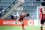 Auckland City Defender Daewook Kim (l) collides with FC Seoul Midfielder Lee Seok Hyun (r) during the 2017 Lunar New Year Cup match between Auckland City FC (NZL) and FC Seoul ((KOR) on January 28, 2017 in Hong Kong, Hong Kong. Photo by Marcio Rodrigo Machado/Power Sport Images