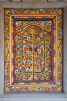 Bali, Indonesia.  Decorated Window of a Hindu Priest's House, Family Residential Compound,  Klungkung, Semarapura.