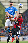 St Johnstone v FC Spartak Trnava...31.07.14  Europa League 3rd Round Qualifier<br /> Gary Miller gets above Ivan Schranz<br /> Picture by Graeme Hart.<br /> Copyright Perthshire Picture Agency<br /> Tel: 01738 623350  Mobile: 07990 594431