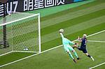14.06.2021 Scotland v Czech Republic:  Czech keeper Tomas Vaclik tips the ball away from Lyndon Dykes
