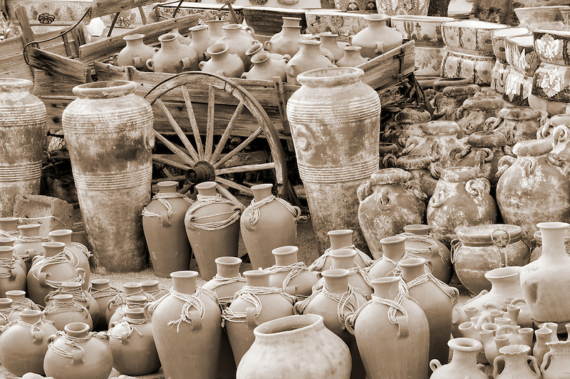 Pots and wagon display. Tubac. Arizona