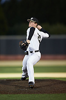 Wake Forest Demon Deacons relief pitcher Shane Smith (21) in action against the Louisville Cardinals at David F. Couch Ballpark on March 7, 2020 in  Winston-Salem, North Carolina. The Demon Deacons defeated the Cardinals 3-2. (Brian Westerholt/Four Seam Images)