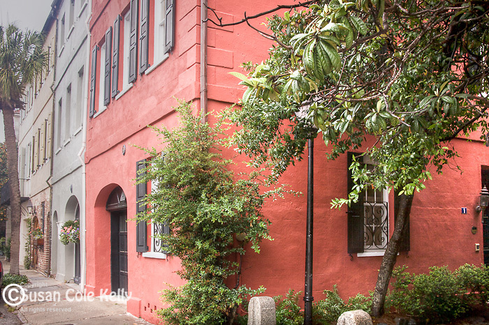 Johnson's Row (22-28 Queen St) in downtown Charleston, SC, a National Historic Landmark district.