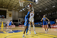 SANTA CRUZ, CA - JANUARY 22: Cameron Brink #22 goes for the basket during a game between UCLA and Stanford University at Kaiser Arena on January 22, 2021 in Santa Cruz, California.