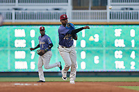 Frisco RoughRiders third baseman Juremi Profar (13) throws to first base during a Texas League game against the Springfield Cardinals on May 7, 2019 at Dr Pepper Ballpark in Frisco, Texas.  (Mike Augustin/Four Seam Images)