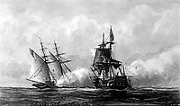 Enterprise capturing Tripolitan Corsair. 1801. Copy of artwork by Hoff. (Bureau of Ships)<br /> Exact Date Shot Unknown<br /> NARA FILE #:  019-N-12435<br /> WAR & CONFLICT BOOK #:  77