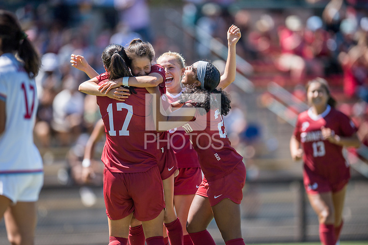 STANFORD, CA - SEPTEMBER 12: Amy Sayer, Katie Duong, Astrid Wheeler and Nya Harrison during a game between Loyola Marymount University and Stanford University at Cagan Stadium on September 12, 2021 in Stanford, California.