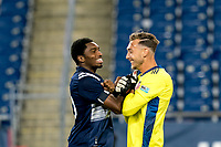 FOXBOROUGH, MA - AUGUST 26: Jon Bell #70 of New England Revolution II and Joe Rice #51 of New England Revolution II celebrate a 1-0 win after a game between Greenville Triumph SC and New England Revolution II at Gillette Stadium on August 26, 2020 in Foxborough, Massachusetts.