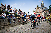 Charlie Quarterman (GBR/Trek - Segafredo) up the infamous Muur van Geraardbergen / Kapelmuur<br /> <br /> 17thBenelux Tour 2021 (2.UWT)<br /> (Final) Stage 7: from Namur to Geraardsbergen (178km)<br /> <br /> ©kramon