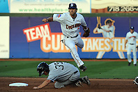 Brooklyn Cyclones infielder Rylan Sandoval (3) during game against the Staten Island Yankees at MCU Park in Brooklyn, NY June 19, 2010. Cyclones won 9-6.  Photo By Tomasso DeRosa/Four Seam Images