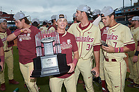 Matt Henderson (24) of the Florida State Seminoles holds the championship trophy following the win over the North Carolina Tar Heels in the 2017 ACC Baseball Championship Game at Louisville Slugger Field on May 28, 2017 in Louisville, Kentucky. The Seminoles defeated the Tar Heels 7-3. (Brian Westerholt/Four Seam Images)