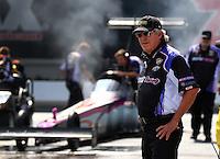 Sep 15, 2013; Charlotte, NC, USA; Richard Hogan ,  crew chief for NHRA top fuel dragster driver Leah Pruett during the Carolina Nationals at zMax Dragway. Mandatory Credit: Mark J. Rebilas-