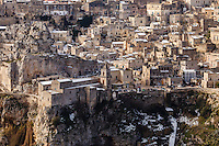 Europe,Italy,Basilicata, Matera, capital of Culture, World Heritage Site, unusual snow in Sassi, Murgia