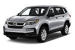 2020 Honda Pilot LX 5 Door SUV angular front stock photos of front three quarter view