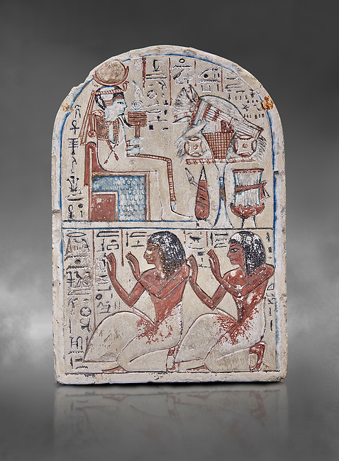"""Ancient Egyptian Ra stele , limestone, New Kingdom, 19th Dynasty, (1279-1190 BC), Deir el-Medina,  Egyptian Museum, Turin. Grey background.<br /> <br /> Khonsu sits on a cube-like throne and wears the solar disc and half-moon on his head. He faces an offering table piled with food and flowers. The hieroglyphic inscription reads: """"Khonsu-in-Thebes, Neferhotep. Protection, life, stability and power surround him, like Ra. Libation for your ka with bread, beer, oxen and fowl.""""Lower register depicts two men kneeling in adoration. They face to the left: Nebre, whose title is kedw sesh """"draughtsman"""" and his son, Amenemope.""""Give praise to Khonsu-in-Thebes by the scribe of Amun in the Place of Truth Nebra, justified in peace, he loved his son, Amenemope, justified"""".In the bottom register are the """"Draughtsman-scribe of Amun in the Place of Truth"""", Nebre, and his son, Amenemope"""" Akh iqer en Ra """" the excellent spirit of Ra' stele.<br /> <br /> One of three stele forund in different rooms of houses in Deir el-Medina where they stood in niches"""