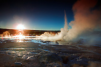 Clepsydra Geyser at sunset. Yellowstone National Park, Wyoming