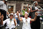 Demonstrators shout slogans against oil privatization as they surround the Mexican Senate venue in Mexico City, April 17, 2008. Hundred of women known as Adelitas keep guard around the Senate after President Calderon delivered an initiative in order to allow transnational enterprises to manage oil resources in Mexico. Photo by Heriberto Rodriguez
