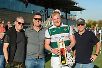 The man of the match Ben Landry following  the Greene King IPA Championship match between Ealing Trailfinders and Cornish Pirates at Castle Bar , West Ealing , England  on 29 September 2018. Photo by Match action Paul Paxford / PRiME Media Images.