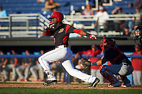 Batavia Muckdogs third baseman Javier Lopez (23) at bat in front of catcher Jeremy Martinez during a game against the State College Spikes on June 23, 2016 at Dwyer Stadium in Batavia, New York.  State College defeated Batavia 8-4.  (Mike Janes/Four Seam Images)