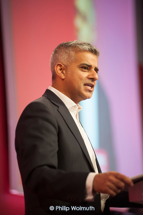 Labour London mayoral coandidate Sadiq Khan at Labour Party leadership election result Westminster London