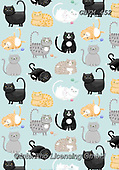 Kate, GIFT WRAPS, GESCHENKPAPIER, PAPEL DE REGALO, paintings+++++Yummy tummy cats repeat,GBKM452,#gp#, EVERYDAY ,cat,cats