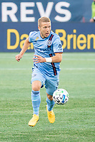FOXBOROUGH, MA - SEPTEMBER 19: Anton Tinnerholm #3 of New York City FC during a game between New York City FC and New England Revolution at Gillette on September 19, 2020 in Foxborough, Massachusetts.