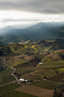 aerial photograph of orchards in the mountains of Santa Barbara County, California