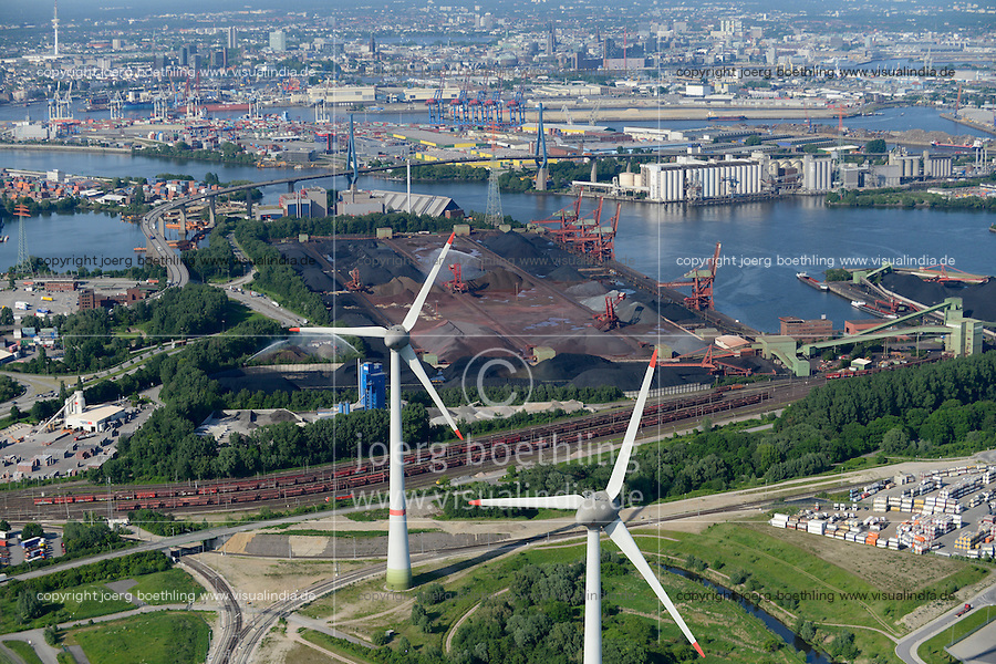 GERMANY Hamburg, aerial view of port, river Elbe and two 6 MW Enercon E-126 windmills infront of coal and ore harbour Hansaport, Köhlbrand Bridge and ADM oil mill / DEUTSCHLAND Hamburg Hafen, Suederelbe, Zwei Enercon E-126 mit 6 MW Windkraftanlagen in Altenwerder vor Hansaport Kohlehafen und Koehlbrand Bruecke