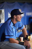 Charlotte Stone Crabs shortstop Alec Sole (23) during a game against the Clearwater Threshers on April 12, 2016 at Bright House Field in Clearwater, Florida.  Charlotte defeated Clearwater 2-1.  (Mike Janes/Four Seam Images)