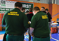 15 MAR 2014 - BIRMINGHAM, GBR - Medics adopt roller derby names as they provide medical support at the inaugural Men's Roller Derby World Cup in the Futsal Arena in Birmingham, West Midlands, Great Britain  (PHOTO COPYRIGHT © 2014 NIGEL FARROW, ALL RIGHTS RESERVED)