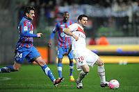 Thiago Motta (PSG) Gregory Leca (Caen).Caen 17/3/2012 .Francia Football Calcio Ligue 1 2011/2012.Caen Vs Psg 2-2.Foto Insidefoto / N. Le Gouic / FEP / Panoramic.