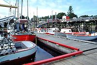 Queen Charlotte Islands (Haida Gwaii), Northern BC, British Columbia, Canada - Commercial Fishing Boats docked at Marina in Masset Harbour, Graham Island