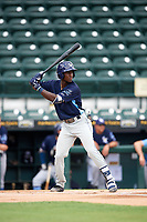 Charlotte Stone Crabs shortstop Lucius Fox (2) at bat during a game against the Bradenton Marauders on June 3, 2018 at LECOM Park in Bradenton, Florida.  Charlotte defeated Bradenton 10-1.  (Mike Janes/Four Seam Images)