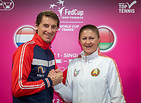 The Hague, The Netherlands, Februari 6, 2020,    Sportcampus, FedCup  Netherlands -  Balarus, Draw, Captains Paul Haarhuis (NED) and Tatsiana Poutchek<br /> Photo: Tennisimages/Henk Koster