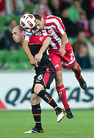 MELBOURNE, AUSTRALIA - NOVEMBER 19: Josip Skoko of the Heart and Joseph Keenan of Adelaide in action during the round 15 A-League match between the Melbourne Heart and Adelaide United at AAMI Park on November 19, 2010 in Melbourne, Australia (Photo by Sydney Low / Asterisk Images)