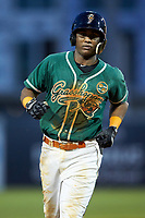 Marcos Rivera (11) of the Greensboro Grasshoppers rounds the bases after hitting a home run against the West Virginia Power at First National Bank Field on August 9, 2018 in Greensboro, North Carolina. The Power defeated the Grasshoppers 9-7 in game two of a double-header. (Brian Westerholt/Four Seam Images)